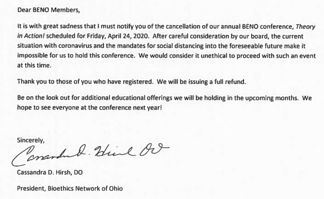 30th Annual BENO Conference RESCHEDULED